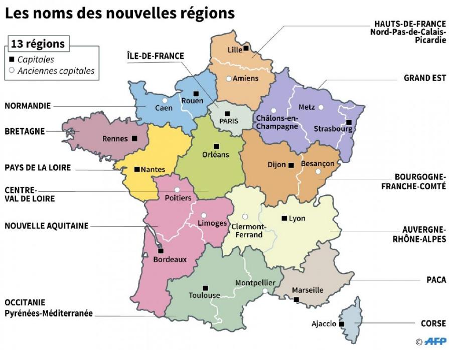 Les 13 grandes régions de France